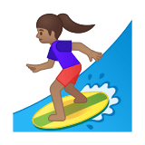 Woman Surfing Emoji with Medium Skin Tone, Google style