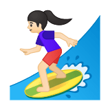 Woman Surfing Emoji with a Light Skin Tone, Google style