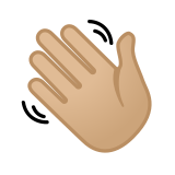 Waving Hand Emoji with a Medium-Light Skin Tone, Google style