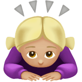 Woman Bowing Emoji with a Medium-Light Skin Tone, Apple style
