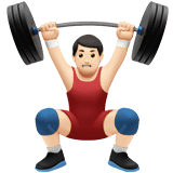 Man Lifting Weights Emoji with a Light Skin Tone, Apple style