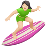 Woman Surfing Emoji with a Light Skin Tone, Apple style