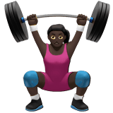 Woman Lifting Weights Emoji with Dark Skin Tone, Apple style