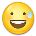 Sweating Emoji / Smiling Face with Open Mouth & Cold Sweat Emoji, LG style