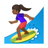 Woman Surfing Emoji with Medium-Dark Skin Tone, Google style