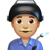 Man Factory Worker Emoji with a Medium-Light Skin Tone, Apple style