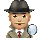 Man Detective Emoji with a Medium-Light Skin Tone, Apple style