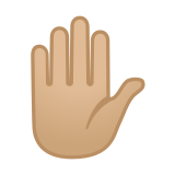 Raised Hand Emoji with Medium-Light Skin Tone, Google style