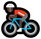 Person Biking Emoji with a Dark Skin Tone, Microsoft style