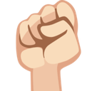Raised Fist Emoji with Light Skin Tone, Facebook style