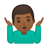 Man Shrugging Emoji with Medium-Dark Skin Tone, Google style