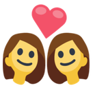 Couple with Heart: Woman, Woman Emoji, Facebook style