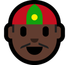 Man with Chinese Cap Emoji with a Dark Skin Tone, Microsoft style