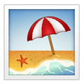 Beach with Umbrella Emoji, Apple style