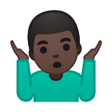 Man Shrugging Emoji with a Dark Skin Tone, Google style