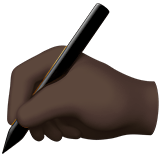 Writing Hand Emoji with a Dark Skin Tone, Apple style