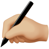 Writing Hand Emoji with a Medium-Light Skin Tone, Apple style
