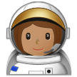 Woman Astronaut Emoji with a Medium Skin Tone, Samsung style