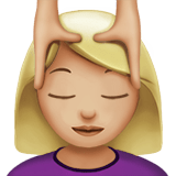 Person Getting Massage Emoji with a Medium-Light Skin Tone, Apple style