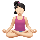 Woman in Lotus Position Emoji with Light Skin Tone, Apple style