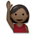 Person Raising Hand Emoji with a Dark Skin Tone, LG style