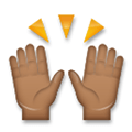 Raising Hands Emoji with a Medium-Dark Skin Tone, LG style