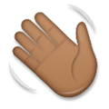 Waving Hand Emoji with a Medium-Dark Skin Tone, LG style
