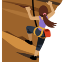 Person Climbing Emoji with Medium Skin Tone, Facebook style