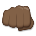 Oncoming Fist Emoji with a Dark Skin Tone, LG style