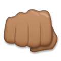 Oncoming Fist Emoji with a Medium-Dark Skin Tone, LG style