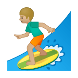 Person Surfing Emoji with Medium-Light Skin Tone, Google style