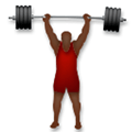 Person Lifting Weights Emoji with a Dark Skin Tone, LG style