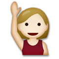Person Raising Hand Emoji with a Medium-Light Skin Tone, LG style
