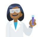 Woman Scientist Emoji with Medium-Dark Skin Tone, Facebook style