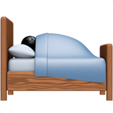 Person in Bed Emoji with Medium-Dark Skin Tone, Apple style