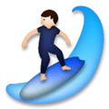 Person Surfing Emoji with Light Skin Tone, LG style