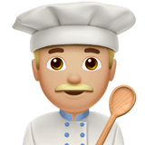 Man Cook Emoji with a Medium-Light Skin Tone, Apple style