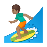 Person Surfing Emoji with a Medium Skin Tone, Google style