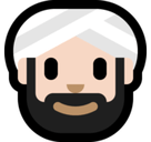 Man Wearing Turban Emoji with Light Skin Tone, Microsoft style