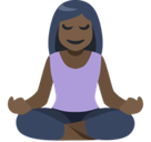 Person in Lotus Position Emoji with Dark Skin Tone, Facebook style