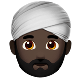 Person Wearing Turban Emoji with Dark Skin Tone, Apple style
