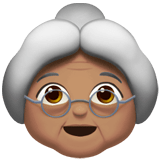 Old Woman Emoji with a Medium Skin Tone, Apple style
