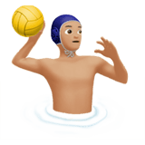 Man Playing Water Polo Emoji with Medium-Light Skin Tone, Apple style