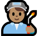 Man Factory Worker Emoji with Medium Skin Tone, Microsoft style