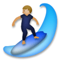 Person Surfing Emoji with Medium-Light Skin Tone, LG style