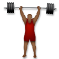Person Lifting Weights Emoji with a Medium-Dark Skin Tone, LG style
