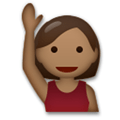 Person Raising Hand Emoji with a Medium-Dark Skin Tone, LG style