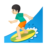 Person Surfing Emoji with Light Skin Tone, Google style