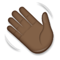 Waving Hand Emoji with a Dark Skin Tone, LG style