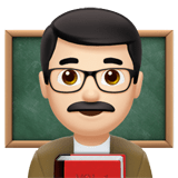 Man Teacher Emoji with Light Skin Tone, Apple style